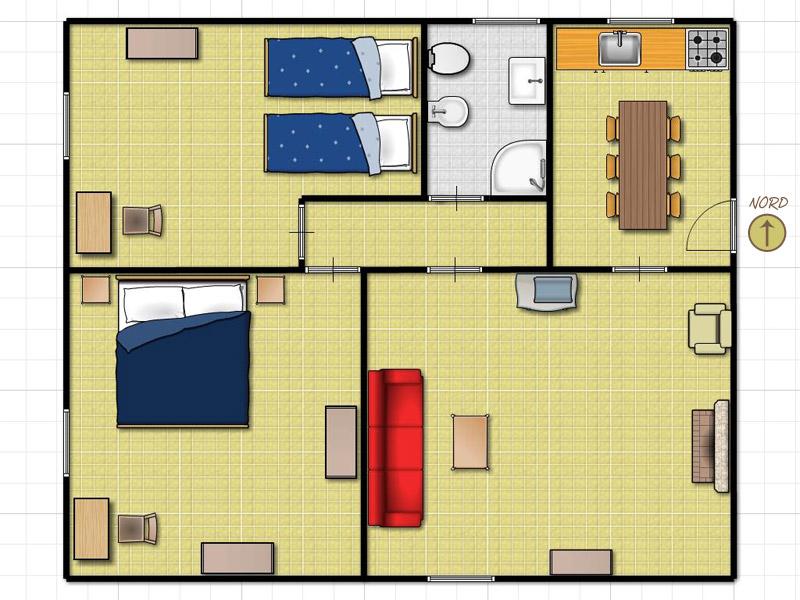 Montagna fiorentina appartamenti vacanza con piscina - Planimetria casa 100 mq ...